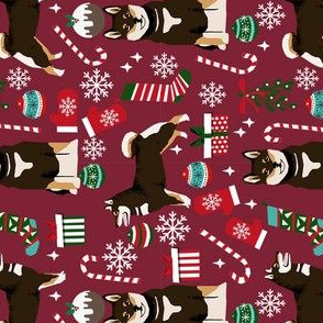 shiba inu christmas fabric - dog christmas fabric, black and tan shiba inu fabric, black and tan shiba inu