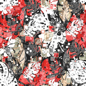 Tropical abstract seamless exotic leaves pattern