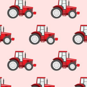red tractors on pink - farm themed fabric C18BS