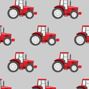 red tractors on grey - farm themed fabric C18BS