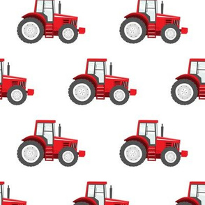 red tractors on white - farm themed fabric C18BS