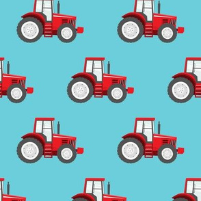 red tractors on blue - farm themed fabric C18BS