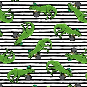 St Patty's Day T-Rex - black stripes-  Saint Patrick's Day