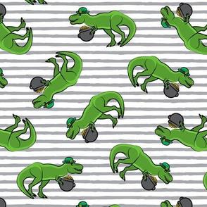 St Patty's Day T-Rex - grey stripes-  Saint Patrick's Day