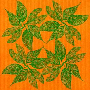 Green Leaves on Orange Stripe