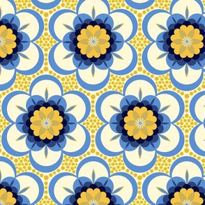 Bold floral - blue and yellow