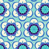 Bold floral - aqua and blue on cream