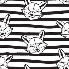 Friendly Geometric Foxes // small scale // monochromatic striped black and white lines background with geometric fox animal