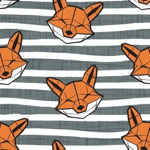 Friendly Geometric Foxes // small scale // striped white and green linen texture background white and orange geometric fox animal