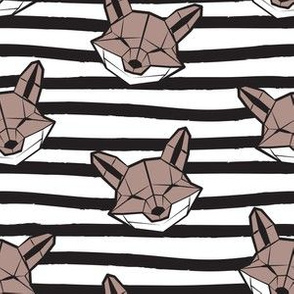 Friendly Geometric Foxes // small scale // striped black and white lines background white and brown taupe geometric fox animal