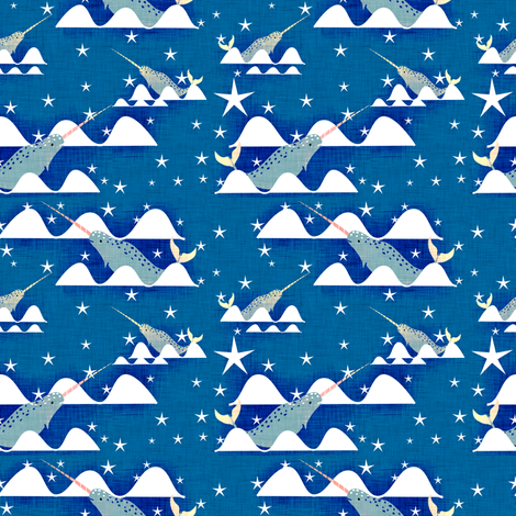 Narwhal Blue small size 2 in fabric by bruxamagica on Spoonflower - custom fabric