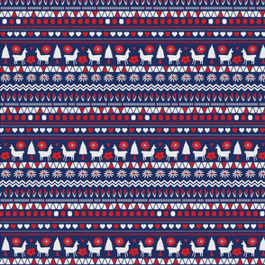 Folk Llama Navy and Red