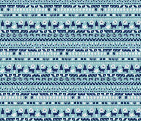 Navy Light Blue Folk Llama  fabric by onelittleprintshop on Spoonflower - custom fabric