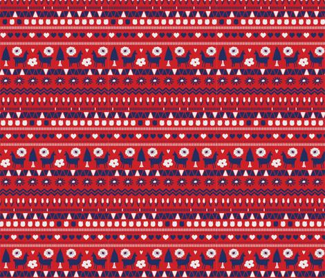 Navy Red Folk Llama  fabric by onelittleprintshop on Spoonflower - custom fabric