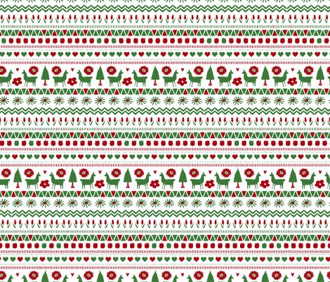 Holiday Folk Llama  fabric by onelittleprintshop on Spoonflower - custom fabric