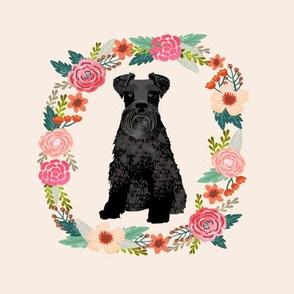 8 inch schnauzer floral wreath flowers dog breed fabric