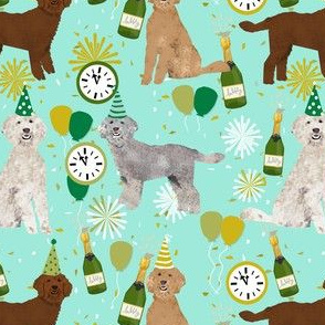 golden doodle dog fabric - dog pattern fabric, nye, new years eve, new years fabric - mint