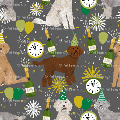 golden doodle dog fabric - dog pattern fabric, nye, new years eve, new years fabric - grey
