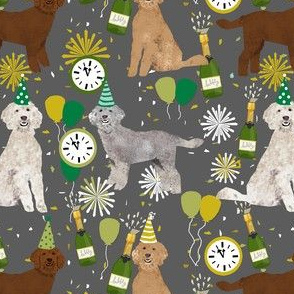 golden doodle dog fabric - dog pattern fabric, nye, new years eve, new years fabric - grey