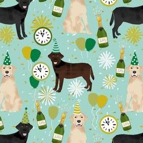 labrador dog fabric - mixed coats new years eve fabric - nye, lab dogs, lab dog fabric, - minty blue