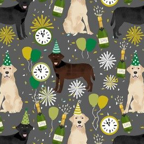 labrador dog fabric - mixed coats new years eve fabric - nye, lab dogs, lab dog fabric, - grey