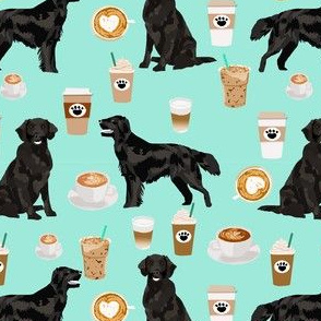 flat coated retriever coffee pattern fabric - dog fabric, dogs fabric, cute dog, flat coated retriever dog -  mint