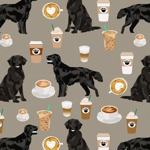 flat coated retriever coffee pattern fabric - dog fabric, dogs fabric, cute dog, flat coated retriever dog - brown