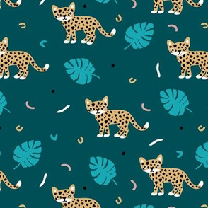Dots and cats botanical night jungle baby tiger wild cat panther blue boys