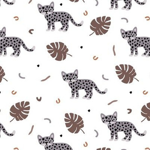 Dots and cats botanical jungle baby tiger wild cat panther gender neutral