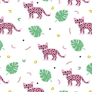 Dots and cats botanical night jungle baby tiger wild cat panther pink green girls