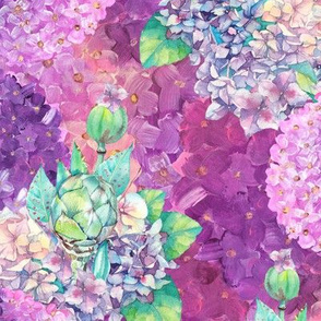 dreamy bouquets hydrangeas pink purple watercolor