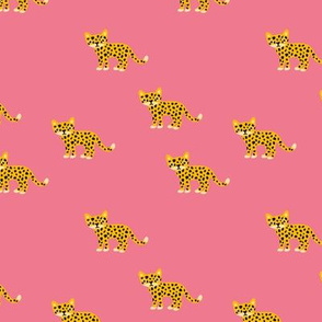 Dots and cats baby tiger wild cat panther pink yellow girls
