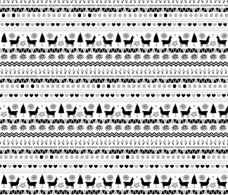 Folk Llama B&W  fabric by onelittleprintshop on Spoonflower - custom fabric