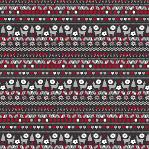 Folk Llama Dark Grey Red and White on Black