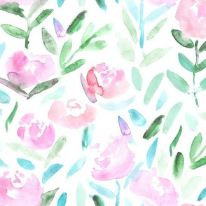 Tender blush florals || watercolor flowers for baby girl's nursery