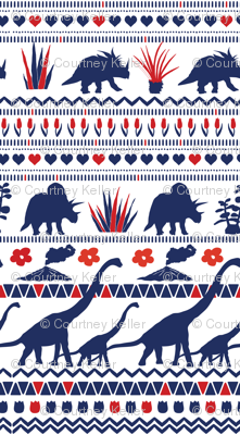 Folk Dino Navy & Red on White