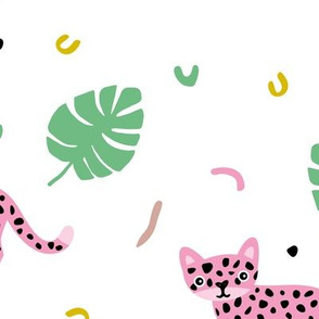 Dots and cats botanical jungle baby tiger wild cat panther pink green girls JUMBO XL