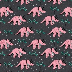 Christmas winter season dinosaurs design cute snow night baby dino print for kids pink SMALL