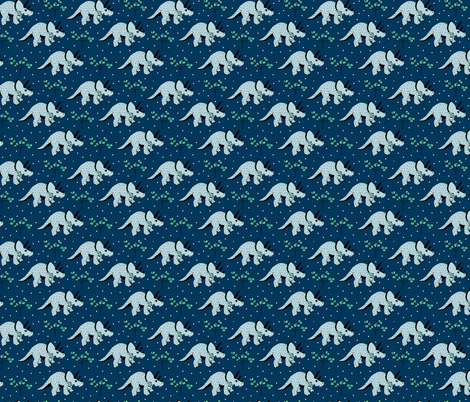 Christmas winter season dinosaurs design cute snow night baby dino print for kids blue SMALL fabric by littlesmilemakers on Spoonflower - custom fabric