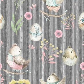 small EASTER BIRDS AND EGGS ON WOOD GREY GRAY FLWRHT