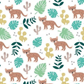 Kids colorful jaguar wildcat jungle botanical leaves cactus and monstera tiger animals boys