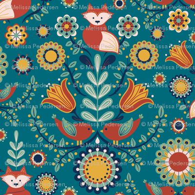 Birdies and foxes - Scandinavian teal