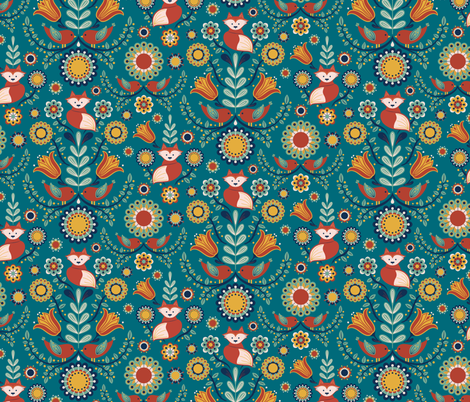 Birdies and foxes - Scandinavian teal fabric by new_branch_studio on Spoonflower - custom fabric