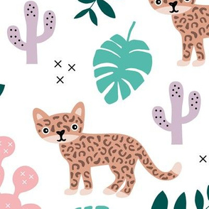 Kids colorful jaguar wildcat jungle botanical leaves cactus and monstera tiger animals girls LARGE