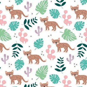 Kids colorful jaguar wildcat jungle botanical leaves cactus and monstera tiger animals girls