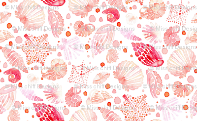 18-03a Vibrant Nautical Blush Pink Sea Shell Watercolor _ Miss Chiff Designs