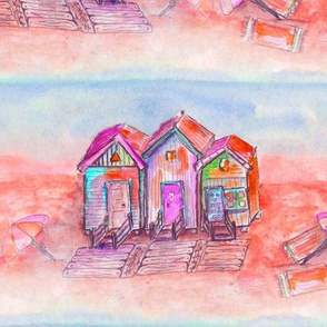 BEACH HUTS YUMMY VINTAGE MANGO CORAL BLUE WATERCOLOR AND INK