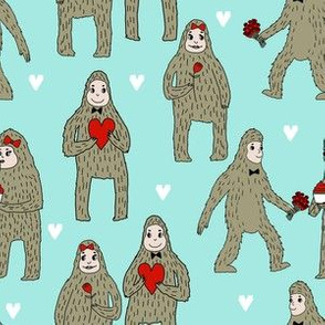 bigfoot valentines day pattern fabric - cute valentines fabric, funny valentines fabric, andrea lauren design - mint