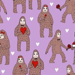 bigfoot valentines day pattern fabric - cute valentines fabric, funny valentines fabric, andrea lauren design -  purple