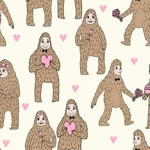 bigfoot valentines day pattern fabric - cute valentines fabric, funny valentines fabric, andrea lauren design - cream